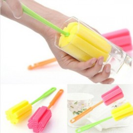 2pcs Simple Durable Sponge Cup Bottle Cleaning Brushes Kit Random Color