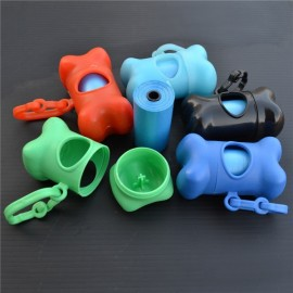Portable Bone Shape Dispenser Pet Dog Cat Poop Biodegradable Scooper Box with 20-piece Waste Bags Random Color
