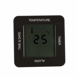 Multi-functional Digital 4-Sided Rotating Alarm Timer Temperature Clock Black