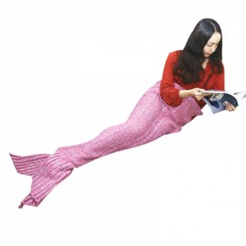 Mermaid Tail Blanket Handmade Knitted Blanket New Fashion Fish Tail Sofa Blanket for Kids Red