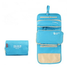 3-in-1 Foldable Waterproof Toiletry Bag Travel Organizer with Hook Hanging Blue