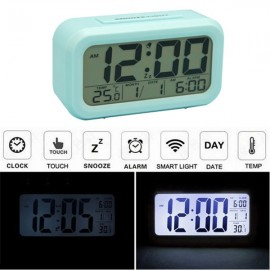 LED Digital LCD Alarm Clock Time Calendar Thermometer Snooze Backlight Blue