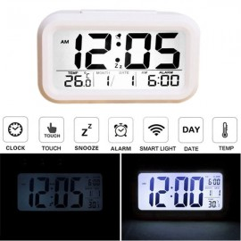 LED Digital LCD Alarm Clock Time Calendar Thermometer Snooze Backlight White