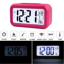 LED Digital LCD Alarm Clock Time Calendar Thermometer Snooze Backlight Red