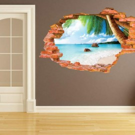 Water Resistant Beach Style Removable Wall Sticker Creactive 3D Wallpaper for DIY