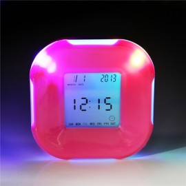 Multifunction 4-Side Change Clock Calendar Timer Temperature Display Rotary LED Digital Alarm Clock Rose Red