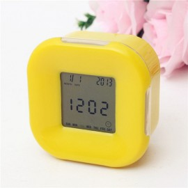 Multifunction 4-Side Change Clock Calendar Timer Temperature Display Rotary LED Digital Alarm Clock Yellow