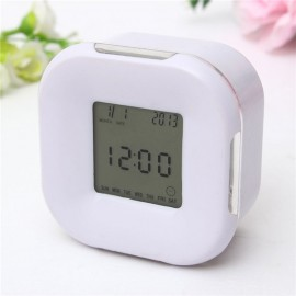 Multifunction 4-Side Change Clock Calendar Timer Temperature Display Rotary LED Digital Alarm Clock White
