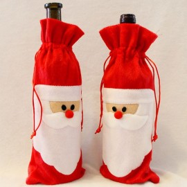 Santa Claus Red Wine Bottle Cover Bags Christmas Dinner Table Decoration Home Party Decor