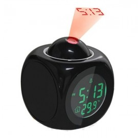 Multifunction LCD Time & Temperature Display Voice Broadcasting Projection Alarm Clock Black