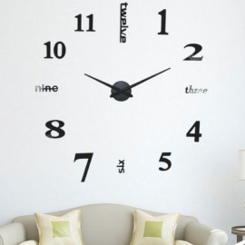 Home Decor Extra Large Mirror Face Quiet Quartz Movement DIY 3D Wall Clock Black