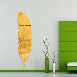 Feather Style Fitting Room Mirror Sticker 3D Acrylic Solid Mirror Sticker Hallway Washroom Decoration Golden