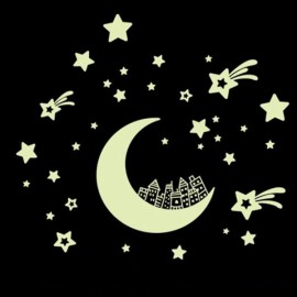 Luminous Moon and Stars Removable Wall Decal Sticker Home Decor Art