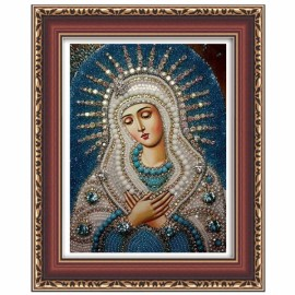 DIY 5D Round Wall Decor Diamond Painting Cross Stitch Embroidery The Virgin Mary