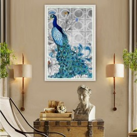 32 x 45cm 5D Diamond Embroidery DIY Beautiful Blue Peacock Decorative Picture Head to Left