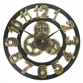 Vintage Rugged Style Oversized 3D Decorative Wall Clock Golden Arabic Numeral Hour-marker 40cm