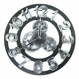 Vintage Rugged Style Oversized 3D Decorative Wall Clock Silver Arabic Numeral Hour-marker 45cm