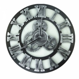 Vintage Rugged Style Oversized 3D Decorative Wall Clock Golden Roman Numeral Hour-marker 45cm