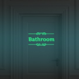Luminous Sticker Bathroom Pattern Removable Sticker Glow In The Dark Wall Door Decor Luminous Green
