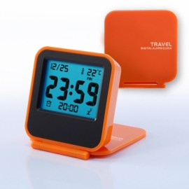 Foldable LCD Digital Travel Desk Alarm Clock Snooze Date Day Thermometer Orange