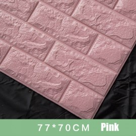 70 x 77cm PE Foam 3D Wall Stickers Brick Texture Wallpaper DIY Wall Decor Light Pink