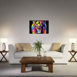 Neutral Colorful Animals of Lion Oil Painting Spray Painting