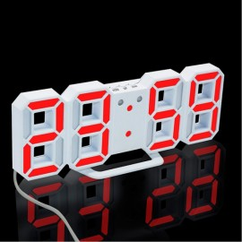 Modern Digital LED Table Desk Clock Watches 24 or 12 Hour Display Alarm Snooze-White Shell& Red Digital