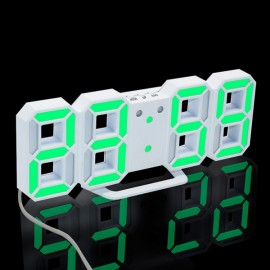 Modern Digital LED Table Desk Clock Watches 24 or 12 Hour Display Alarm Snooze-White Shell& Green Digital