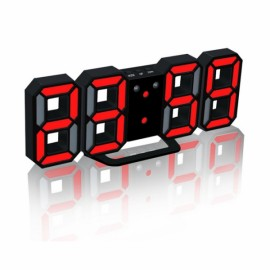 Modern Digital LED Table Desk Clock Watches 24 or 12 Hour Display Alarm Snooze-Black Shell& Red Digital