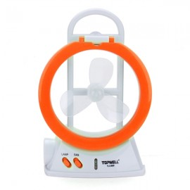 Multifunctional LED Electric Fan Lamp Fan Light Mini Desk Fan Flashlight Orange
