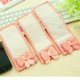Cute Bowknot Lace TV Remote Air Conditioner Remote Control Protective Cover Bag Pink Size L 24*8cm