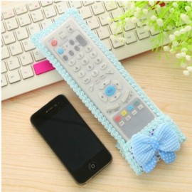 Cute Bowknot Lace TV Remote Air Conditioner Remote Control Protective Cover Bag Blue Size S 18.5*8cm