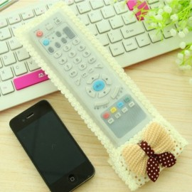 Cute Bowknot Lace TV Remote Air Conditioner Remote Control Protective Cover Bag Yellow Size M 21*8cm