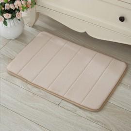 40 x 60cm Coral Velvet Memory Foam Rug Bathroom Mat Soft Non-slip Floor Carpet Beige