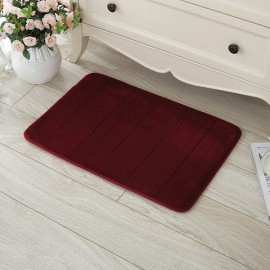 40 x 60cm Coral Velvet Memory Foam Rug Bathroom Mat Soft Non-slip Floor Carpet Wine Red