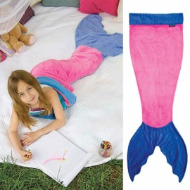 Cute Color Block Mermaid Design Flannel Blanket for Kids Pink