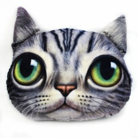 Individual Creative 3D Cat Style Throw Pillow Sofa Bed Cushion Gray