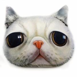 Individual Creative 3D Cat Style Throw Pillow Sofa Bed Cushion White