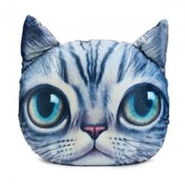 28 x 22cm Plush Creative 3D Cat Throw Pillow Sofa Car Seat Cushion Blue & Gray