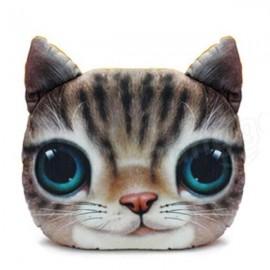 28 x 22cm Plush Creative 3D Lovely Cat Throw Pillow Sofa Car Seat Cushion Brown