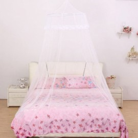 Elegant Classical Romantic Sweet Princess Students Outdoor Hang Dome Mosquito Net Round Lace Anti-insert Curtain White