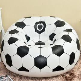 Portable Football Pattern Flocking Fast Inflatable Lazy Sofa Chair Sleep Bed Home Garden Furniture White & Black