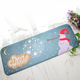 Christmas Flannel Velvet Memory Foam Rug Absorbent Bathroom Mat Non-slip Soft Floor Carpet 40x120cm Christmas Snowman Pattern