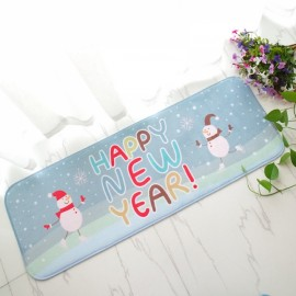 Christmas Flannel Velvet Memory Foam Rug Absorbent Bathroom Mat Non-slip Soft Floor Carpet 40x120cm New Year Snowman Pattern
