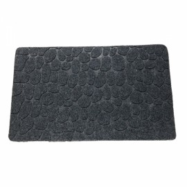 78 x 38 x 1cm Absorbent Non-slip Cobblestone Pattern Bathroom Mat Dark Gray