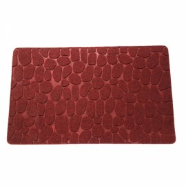 78 x 38 x 1cm Absorbent Non-slip Cobblestone Pattern Bathroom Mat Dark Red