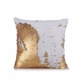 Reversible Sequin Mermaid Pillowcase Magical Color Changing Pillow Cushion Cover Home Car Decor - White+Gold