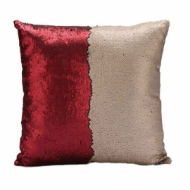 Reversible Sequin Mermaid Pillowcase Magical Color Changing Pillow Cushion Cover Home Car Decor - Red+Matte Gold