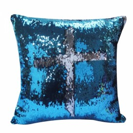 Reversible Sequin Mermaid Pillowcase Magical Color Changing Pillow Cushion Cover Home Car Decor - Lake Blue+Silver