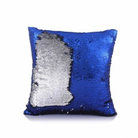 Reversible Sequin Mermaid Pillowcase Magical Color Changing Pillow Cushion Cover Home Car Decor - Royalblue+Silver